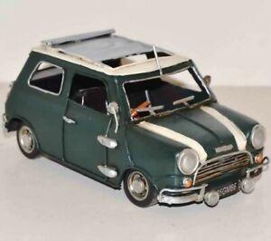 "New 8.5"" European Finery Mini Cooper S Diecast Model Toy Car 1:18 Green Figurine"
