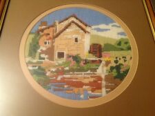 """Framed & Glazed Wool Work Embroidery Of A Watermill 17"""" X 16"""""""