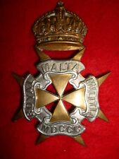 The Royal Malta Militia King's Crown Helmet Plate Badge - British Colonial