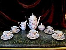 Tea Set Coffee Tea Pot Sugar Creamer 5 Cups Saucers PIRKENHAMMER CZECHOSLOVAKIA!
