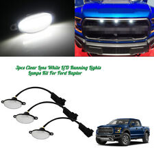 3pcs Clear Lens 12SMD White LED Front Grille Running DRL Lights For Ford Raptor