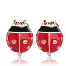 Lifelike Red Enamel Ladybug Ear Clip Cubic Zirconia Silver Filled Earrings Gift