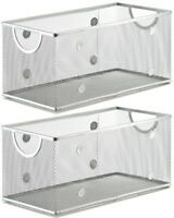 Ybm Home Wire Mesh Open Bin Basket Silver 11 in. L x 5.1 in. W x 5 in. H 2 Pack