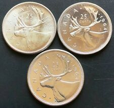 Lot of 3x 1964 Canada Silver 25 Cent Quarters ***Brilliant Uncirculated MS++***