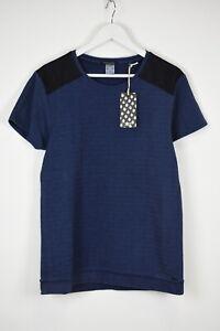 SCOTCH & SODA Men's ~MEDIUM Indigo Shoulder Patches Denim Look T-shirt 11284 mm