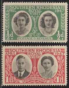 (OL38)SOUTHERN RHODESIA 1947 ROYAL VISIT SET 2V MNH
