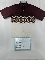 Wrangler Mens Western Aztec Pearl Snap Button Burgandy Short Sleeve Shirt SZ M