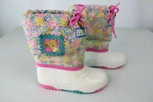 Vintage 90s Kids Lion King Disney Nala Snow Boots 90s sz 10 White Neon