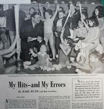 Vintage article 1948 Babe Ruth My Hits and Misses Early Years Bob Cosidine