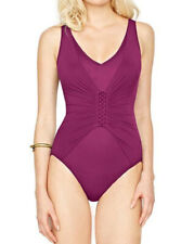 91c4be5b59bd0 GOTTEX Landscape Cranberry Lace Up V-Neck High Back One Piece Swimsuit BNWT