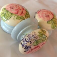 LARGE CABBAGE ROSE BLUE CREAM SHABBY CHIC DRAWER PULL CUPBOARD HANDLE WARDROBE