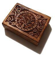 Wood Box Velvet Lined Filigree Tree of Life Dark Brown