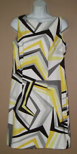 Womens Size Medium 10 Sleeveless Summer Fashion Yellow Patterned Career Dress