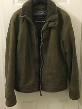 ABERCROMBIE & FITCH Heavy Military Army Olive Green Lined Adirondack Jacket VTG