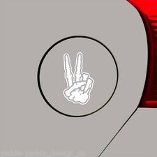 "GAS - Skeleton Hand Peace Sign - Car Gas Cap Vinyl Decal ©YYDC(2""wX3.25""h) WHITE"
