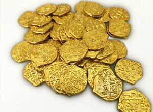 Lot of 100 - Toy Shiny Gold Pirate Coins Treasure