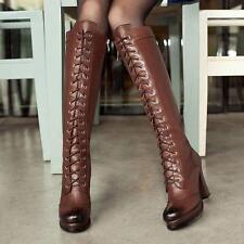 High Heel Lace up Platform Vintage Knee High Leather Ladies Riding Boots Plus Sz