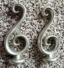"4"" Curtain Rod Finials Silver Nickel Swirl Set of 2"