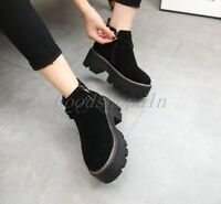 Ladies High Platform Womens Trendy Retro Flat Creeper Shoes Ankle Boots Shoes DD