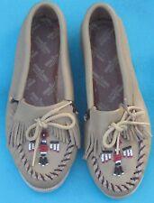 Vintage Minnetonka Leather Shoes Moccasins Hard sole Slipper Thunderbird 5 Usa