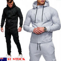 AU New Man Hooded Zip Tracksuit Overhead Hoodie Jogging Top Pant Set Sports Suit