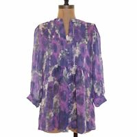 Joie Dativ Top Size M Silk Porcelain Floral Print Shadow Purple EUC $248  B2