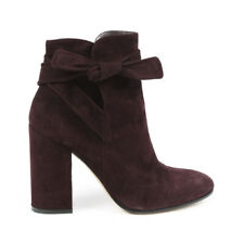 Gianvito Rossi Suede Knotted Block Heel Ankle Boots SZ 36.5