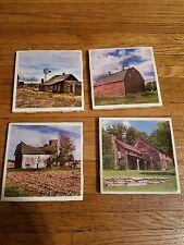 Old Barn themed 4x4 Ceramic Coasters Handmade set of 4