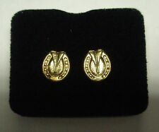Horse Hoof And Shoe Gold Coloured Stud Earrings In Gift Box