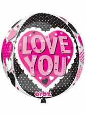 ORBZ PINK & BLACK FOIL BALLOON HEARTS VALENTINES DAY ENGAGEMENT ANNIVERSARY LOVE