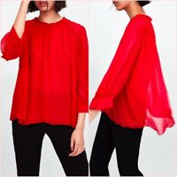 SALE Red Chiffon Pleated Long Sleeves Shirt Blouse Top M UK 10 US 6 Blogger ❤