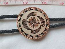 Vintage copper Southwest themed hand carved Bolo Tie