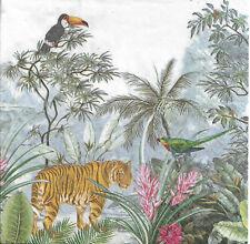 Lot de 4 Serviettes en papier Paradis Tropical Tigre Decoupage Decopatch