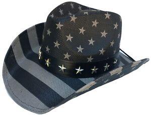 Headchange USA Blackout Flag Cowboy Hat Western Patriotic American Pride Raiders