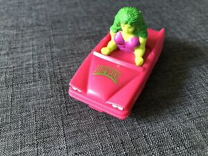 "Marvel Comics ""She-Hulk Pink Car"" 3"" *RARE* 1990 Super Hero Figure Incredible!"