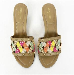 Eric Javits Size 8 Womans Multi Color Maribel Straw Studded Slide Sandals SlipOn