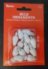 NEW Mini White Glitter Christmas Light Bulb Ornaments Charms 12 Pieces