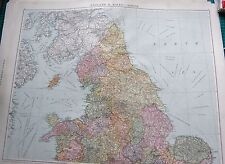 1919 LARGE ANTIQUE MAP-ENGLAND AND WALES-NORTH