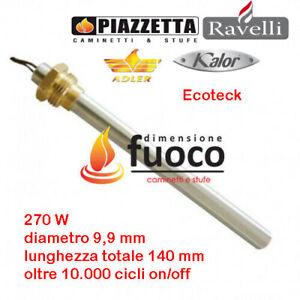 CANDELETTA  ACCENSIONE STUFE PELLET QLIMA - ADLER - RACC.3/8 L.140 D.9,9 Cod1001