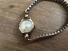 VINTAGE ACCURIST 21 JEWELS LADIES 9CT GOLD WATCH WITH GOLD TONE EXPANDING STRAP