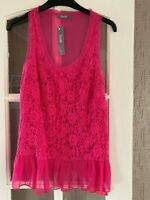 South Purple/ Pink Vest   Top, Size 8 LACE SHEER TRIM BNWT  HOLIDAY