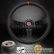 350mm Black Drifting Deep Dish Steering Wheel + Hub Adapter Honda Civic 92-95 EG
