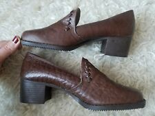 BNWT Vintage Loafer Shoes 3,5 Leather Brown Tan Low Chunky Thick Heel 60's Retro