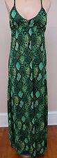 Apple Bottoms Maxi SunDress Snakeskin Print DRESS GREEN Sz M