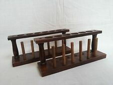 Test Tube Stand Wooden 6 Hole With Drying Rack Vintage Lab Equipment Set Of Two