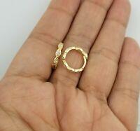 14K Yellow Gold Over Crystals Huggie Hoop Earrings