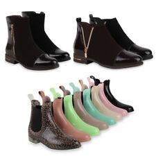 Flache Damen Stiefeletten Chelsea Boots & Gummistiefel 99909 Gr. 36-41 Schuhe