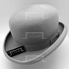 VINTAGE Wool Felt Dura Bowler Hat Men Derby Women Crown FORMAL NEW | 59cm | Grey
