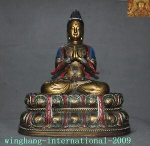 Tibet pure purple bronze Gilt-silver Painted inlay gem Tara goddess Buddha statu