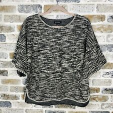 MAX EDITION SHORT SLEEVE TWEED TOP  LOOSE FIT BLOUSE LARGE